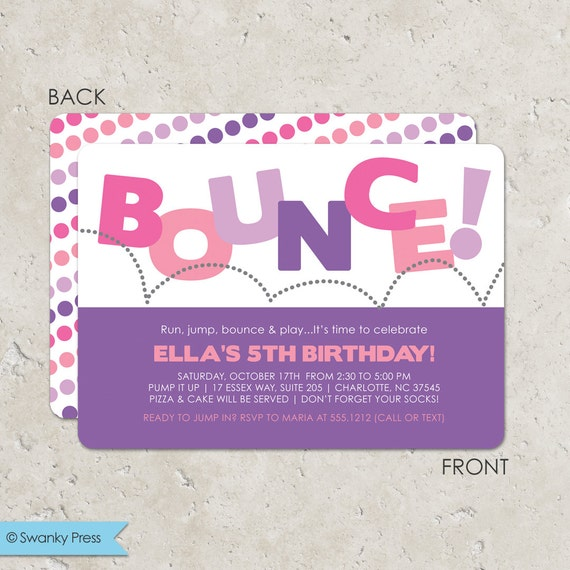 Bounce House Birthday Party Invitation For Girls Pump It Up