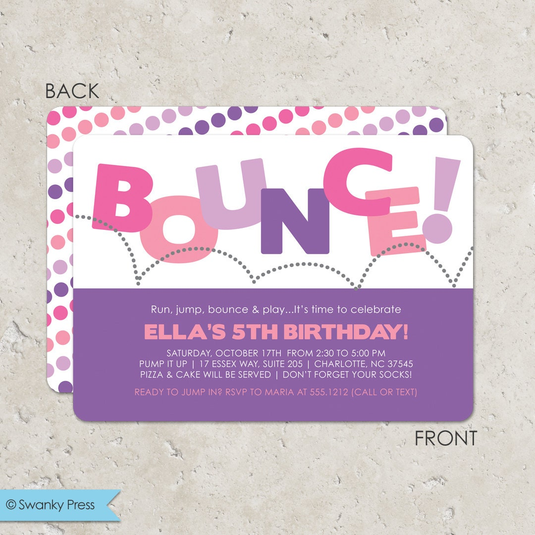 Bounce House Birthday Party Invitation for girls Pump It Up – Pump It Up Party Invitations