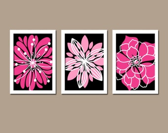 Black hot pink wall art canvas white flower burst outline for Hot pink and black bathroom ideas