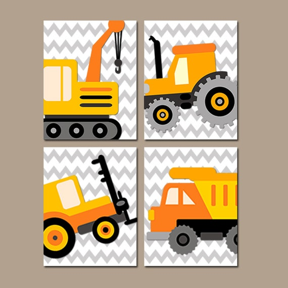 Construction wall art construction trucks art canvas or for Boys wall art