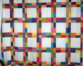 Colorful patchwork shower curtain