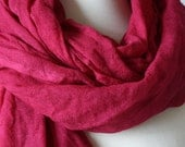 Fuchsia pink scarf. Long merino wool scarf. Hot pink scarf. Woman scarf. Hand painted scarf by red2white.