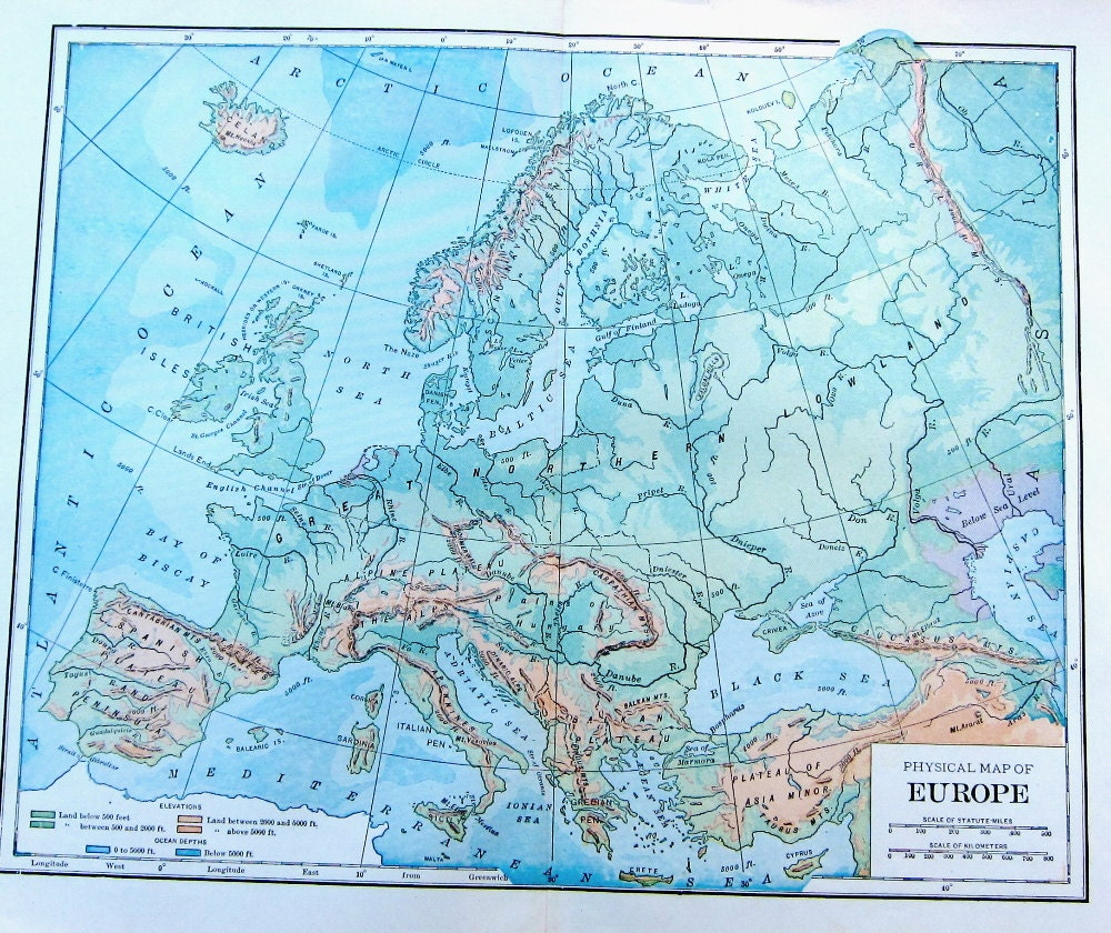1923 Antique Physical Map of Europe to Frame or for Collage