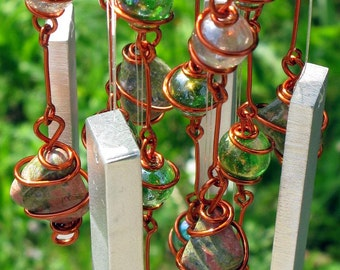 Unakite Windchime / Wind Chime with Recycled Aluminum and Copper Wrapped Iridescent Spring Green & Crystal Pink Glass Marble Prisms