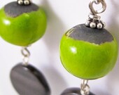 Lime and Fog Grey Earrings, Ceramic beads, Mother of Pearl, Laura Mae Jewelry, OOAK