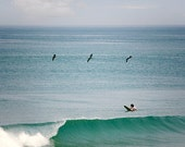 Summer Photography, Ocean Photo, Seashore, Flying Pelicans, Beach House Decor, Surfer, Ocean Wave, Surf - 8x8, 10x10, 12x12 - Endless Summer