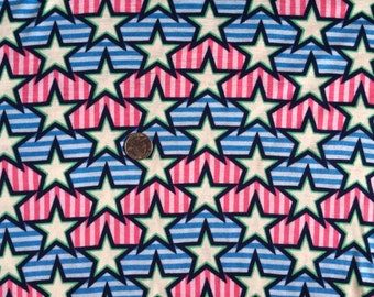 New stars and stripes on cotton jersey knit fabric 1 yard