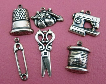 6 Silver Sewing Charms 2675
