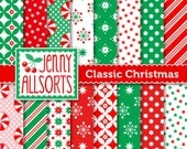 Classic Christmas Digital Scrapbook Paper - Red and Green patterns - for holiday card making and digital scrapbooking