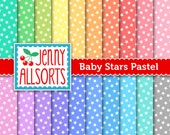 Baby Stars Digital Papers - 20 Starry Sheets in Pastel Colors -  for invites, card making, digital scrapbooking - instant download