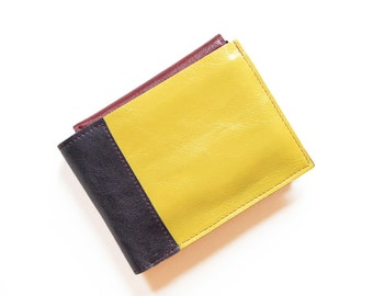 Mens Leather Wallet, Bifold Leather ID Card Holder Wallet, Yellow Leather Wallet, Monogram Gift - The Wesley Wallet in Yellow