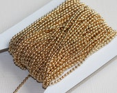 10 ft  of gold plated ball chain smooth ball chain 1.5mm