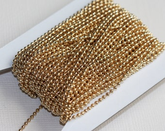 32 ft  of gold plated ball chain smooth ball chain 1.5mm with connectors, gold chain, gold plated brass chain