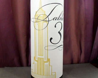 Empire State Building New York Luminary Centerpiece - Vellum Table Number Wedding Reception Papers - Landmarks