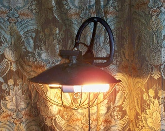 Repurposed Wall Sconce,Antique Heater Into Hanging Light,Vintage,Copper,Iron,Two Light,Steampunk