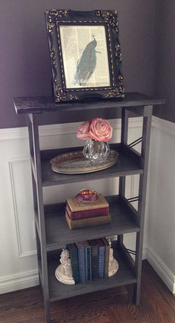 Tall Painted / Distressed Gun Metal Grey Shelf / Bookcase With