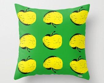 Yellow Apples Decorative throw pillow cover - Colorful pillow case - Modern design - accent pillows - decorative bed pillows - Scandinavian