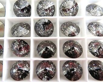 6 Black Patina Foiled Swarovski  Rivoli Stone 1122 12mm