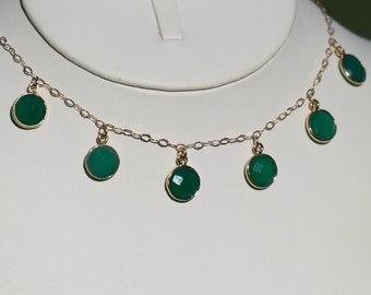 Green Onyx Necklace, Gold Vermeil Necklace, Open Bezel Green Necklace, Green Gold Necklace 16 to 18 in. Green Drop  Maggie McMane Designs