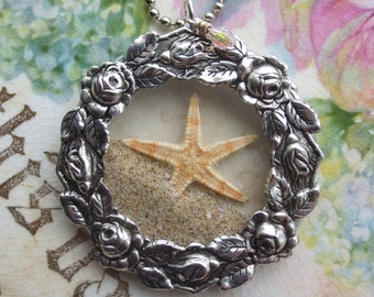 Real Starfish - Star- Fish - Ocean - Beach - Waves - Wedding Beach Party - Roses Wreath Frame - Antique Pocket Watch Crystals