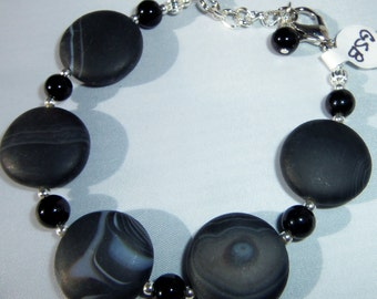 Beautiful Black Banded Onyx Bracelet 3