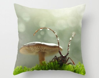 Seeking Shelter From The Rain Pillow Cover Green Moss Long Horned Beetle Mushroom Woodland Scene Sweet Moments Fungi