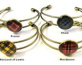 Scottish Tartan Jewelry - Ancient Romance Series - CHOICE OF ONE Tartan Button Bezel Bracelet