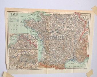 vintage 1926 map France