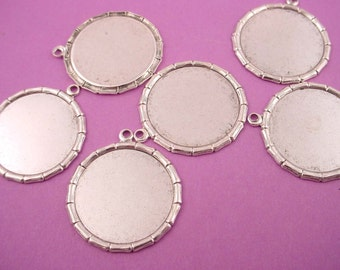 6 silver ox bamboo style rim  settings 18mm pendant loops