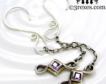 Silver Celtic Earrings Purple Amethyst Stones Handmade Hammered Hooks Royal Wedding