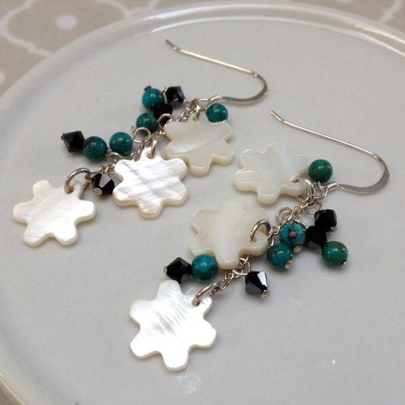 White Mother of Pearl Flower, Black Crystal and Turquoise Earrings