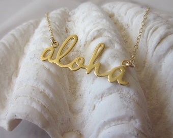 Script Aloha Necklace - Gold