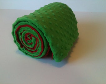 Minky Blanket-  Red and Green  35 x 30