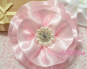 NEW! 2pcs Handmade Satin flowers--pink (FB1022)