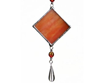 Stained Glass Suncatcher Tangerine Orange Suncatcher Small