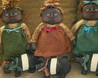 "DOLL PATTERN Primitive Black Doll and #Pig Pattern #101 Original Pattern 14"" Doll and 7"" Pig"