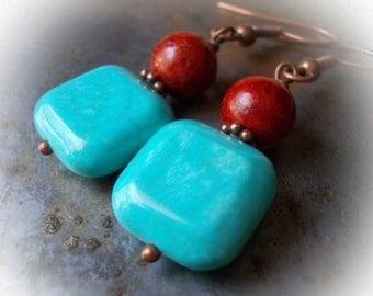 Turquoise and coral drop earrings, copper earrings, blue turquoise earrings, red sponge coral dangle earrings, folk style earrings, handmade