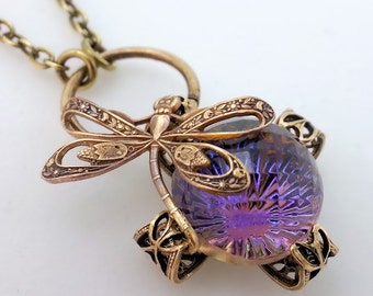 Bellissima dragonfly necklace Art Nouveau bug necklace brass filigree adjustable necklace, purple pendant necklace insect jewelry gift idea