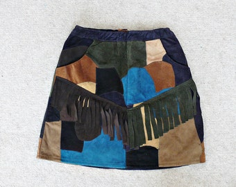 SUEDE LEATHER SKIRT//patchwork mini skirt,fringe detail,native american skirt,super mini,size xxs