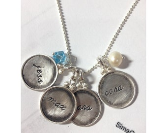 Every Disc Has A Story ------ FOUR discs -- Personalized  your necklace for MOTHER'S DAY -- Simag