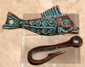Mykonos Casting, Fish & Hook Clasp, Green Patina  M290