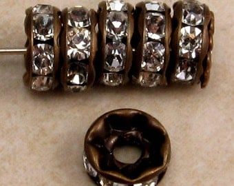 Antique Brass Rhinestone Rondelle, Large Hole, 8 mm, Crystal, 6 Pc. C344
