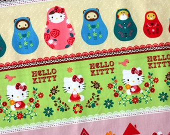 "1 yard 6"" Hello Kitty Panel Matryoshka Stripe Kokka Sanrio Japanese fabric Push Pin"