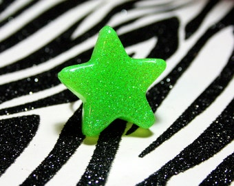 Green Star Ring, Neon Resin Adjustable Ring, Lime Green Glitter Statement Jewelry