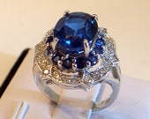 Blue Topaz Ring - Engagement Ring - With Blue And White Sapphires - Sterling Silver - Size 6.5  GORGEOUS - Sale