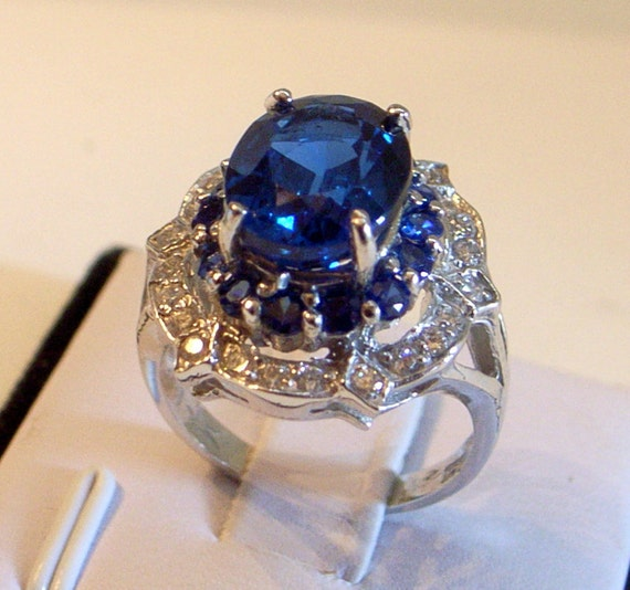 blue topaz ring engagement ring with blue and white