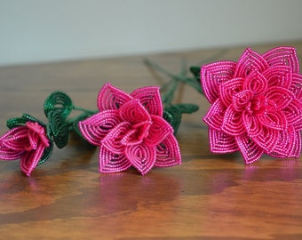 3 french beaded flowers handmade roses different sizes Fuschia color