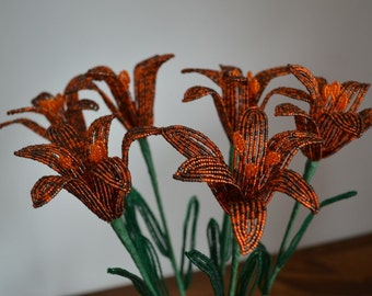 6 Handmade french beaded flowers lilies Tiger lily flower
