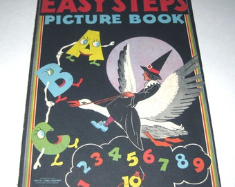 Easy Steps Picture Book Vintage 1940s Childrens Over Sized Textured ABC and Number Picture Book by Samuel Lowe Co.
