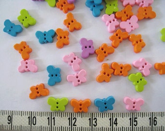 60 pcs of  Tiny Butterfly Button in Soft Tone  -  Orange Blue Pink  Lime Green 10mm